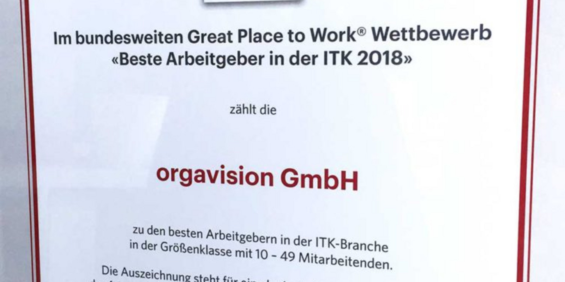 Das Zertifikat von Great Place to Work